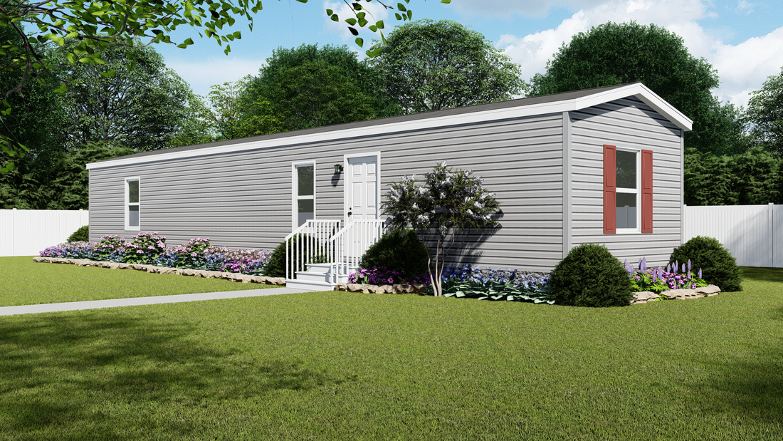 The RUBY Exterior. This Manufactured Mobile Home features 2 bedrooms and 2 baths.