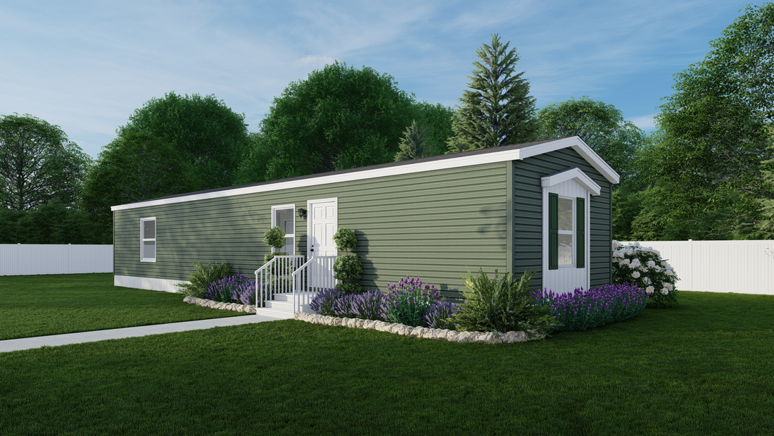 The EMERALD Exterior. This Manufactured Mobile Home features 2 bedrooms and 2 baths.