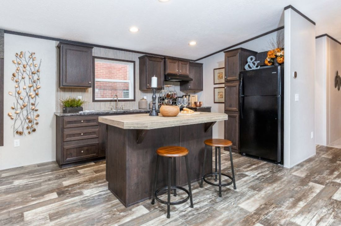 The GARNET Kitchen. This Manufactured Mobile Home features 3 bedrooms and 2 baths.